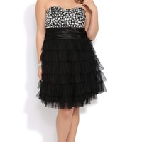 Plus Size Jeweled Strapless Short Homecoming Dress with Cupcake Skirt Mobile