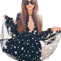 Sheer Chiffon See Through Star Print Black Sexy Long Sleeve Dress Plunge Mini Short Women Beach Wear Summer Beach Dress