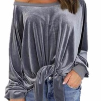 Women velvet Long Sleeve T-shirts sexy Loose bow Shirts Tops O-neck Solid Color Female T-shirts