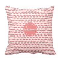Pink Polka Dot Patterned Monogrammed Throw Pillow
