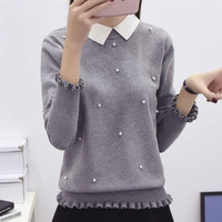 new fashion Women peter pan Turn-down Collar ruffle long-sleeve sweater female preppy style basic Beaded knitted pullover tops