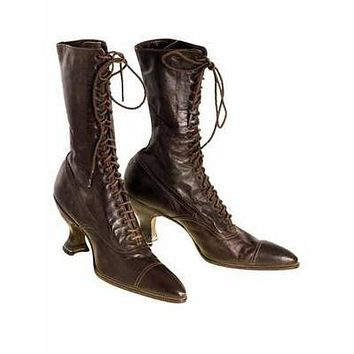 Victorian Ladies Julia Marlowe Boots w/Louis Spool Heels Brown 1900 Size 6  NWOT