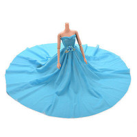 1 Pcs Blue Party Doll Dress With Flowers Clothes Gown For Barbie Kids Gift 3C#