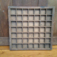 Vintage Small Square Wood Letterpress Typesetter Drawer Printer Tray