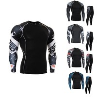 man sportswear tracksuit set  compression pants running tights  men jogging suits long sleeve crossfit T-shirt MMA rashgard kit