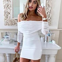 Autumn And Winter New Fashion Solid Color Strapless Long Sleeve Dress White