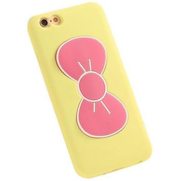 CREYWQA iPhone 6 6S Cute Bow Phone Case (Pink & Yellow)