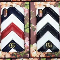 Gucci leather half hard shell iPhone6s7 / 8plusx mobile phone case