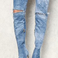 Denim Acid Wash Thigh High Distressed Boots