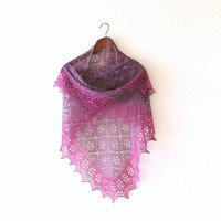 Knit shawl in purple fuchsia colors, knit wrap, gift for her