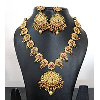 Traditional Antique gold with CZ stone Peacock choker Necklace and Stud Earring set