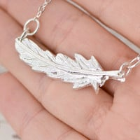 SALE Feather Necklace - Sterling Silver Feather - Bohemian Jewelry - Feather Jewelry - Silver Jewelry - Silver Necklace