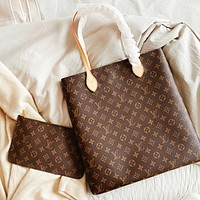 LV New fashion monogram print shoulder bag handbag two piece suit