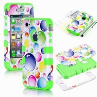 Amazon.com: Pandamimi Apple iPhone 4 4S Hard Hybrid Case Cover Rubberize Green Silicone TUFF + Screen Protector + Stylus: Cell Phones & Accessories