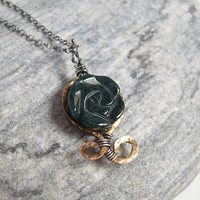 Green Japser Rose Necklace, Moss Green Stone, Sterling Silver Chain, Rustic Jewelry, Bronze Pendant