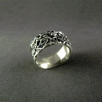 Textured band ring,Bird nest silver ring,Kenny silver ring,organic,unique ring,quartz ring,ring for women,gift ring,reed ring,handmade