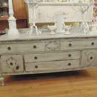 RARE Antique Shabby Chic Buffet Console by VintageChicFurniture