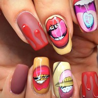 1 Sheets Funny Nail Sticker Sexy Mouth Lips Full Cover Pattern Water Decals Nail Art Manicure Wraps Nail Tattoos TRSTZ466-467