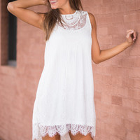 Intricate Love Tank, White