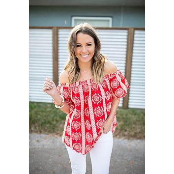 Red Hot Embroidered Off The Shoulder Top
