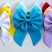 9 colors available- hair bow with tails, chiffon bow, fabric hair bow, big hair bow, solid color pastel color hairbow, choose your color