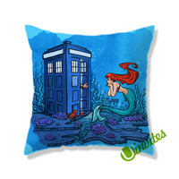 Tardis Dr Who With Ariel Little Mermaid Square Pillow Cover