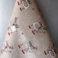 Linen Cotton Dish Towels Tea Towels Rudolf Reindeer Christmas Holiday Tea Towels set of 2