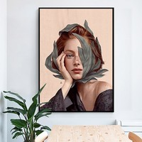 Creative Anime Alien Girl Canvas Painting Bird Leaf Flowers Butterfly Poster Print Wall Art For Living Room Girl Room Home Decor