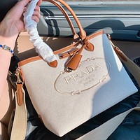 Prada new canvas embroidered letter logo ladies shopping handbag shoulder bag