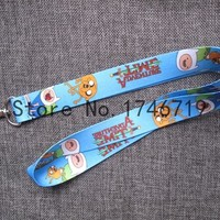 Retail 1 pcs Cartoon Adventure Time Finn and Jake  Straps Lanyard  ID Badge Holders Mobile Neck Keychains For Party Gift R-44