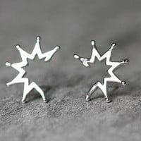 Sector Earrings, Sterling Silver Sector Stud Earrings, Geometric earrings, Minimalist studs earrings, Geometric Jewelry, gifts for her