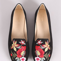 Qupid Embroidered Floral Suede Loafer Flat