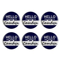 Camdyn Hello My Name Is Plastic Resin Button Set of 6