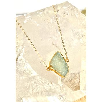 Ice blue/green druzy necklace