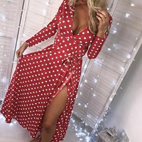 Vintage Party Women Dress Polka Dot Wrap Casual Elegant Bow Split Maxi Dresses Long Dress