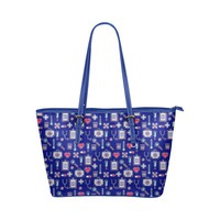 Water Resistant Small Leather Nurse Love Print Tote Bags (5 colors)