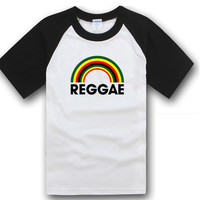 Spring Summer Jamaican Reggae Print men's clothing casual bob marley leaf Weed  short-sleeve pullover rainbow cotton T-shirt