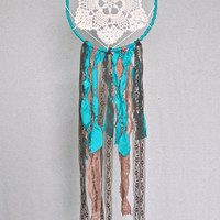 Bohemian Dreamcatcher, Doily Gypsy Dream Catcher, Turquoise Lace Dreamcatcher, Gypsy Dreamcatcher,Nursery Decor,Native American Dreamcatcher