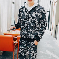 Camouflage Tracksuit Men's Sportswear Hoodie And Pants Hooded Zip Up Sweatshirt Winter Thick Gray Track Jump Suit Set