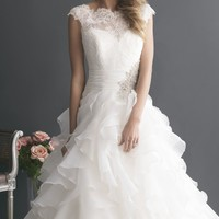 Organza Lace Tiered Gown by Allure Bridals Romance