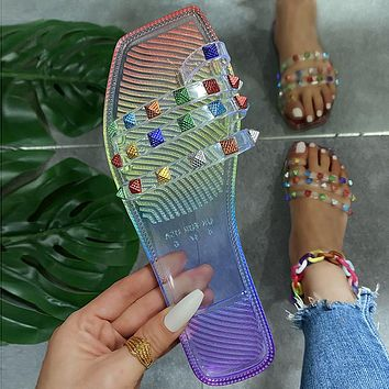 New square-head rhinestone transparent bottom sandals and slippers