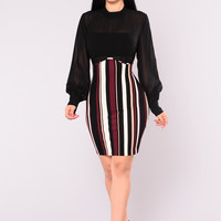Amie Striped Dress - Black