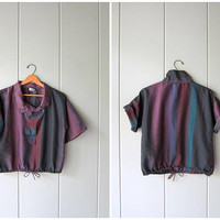 Vintage 80s Boxy Plaid Top Black Purple Pullover Summer Tee Thin Cotton Blend Sporty Drawstring Short Sleeve Boho Shirt Womens Medium