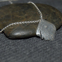 sterling silver peacock feather charm pendant with sterling silver chain, silver peacock necklace, rustic boho jewelry