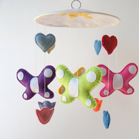 Butterfly mobile, nursery decor, felt baby mobile, pink, purple butterfly, colorful hearts, baby girl mobile