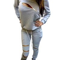 Feida Women Tracksuits Suits Sexy Zipper Fleece and Trousers Two Pieces Suit Cloth