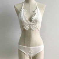 Vest Spaghetti Strap Bra Sexy Lace Underwear Stylish Fashion Set [10199061379]