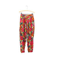 Floral Lounge Pants High Waist 90s Elastic Waist Tapered Leg Pleated RAYON BOHO Pink Pants with POCKETS Summer Lounge Pants Womens Small