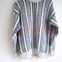 Gray Striped Sweater for Men and Women by Claybrooke Size Large