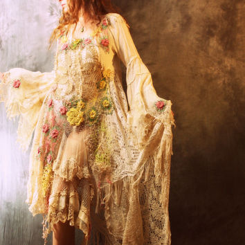 Vintage Bohemian Gypsy Hippie Crochet Lace Mermaid Fantasy Dress OOAK Handmade Wedding Made to Order